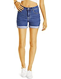 Bestyledberlin Damen High Waist Hot Pants, Denim Shorts, Sommer Jeansshorts j57i