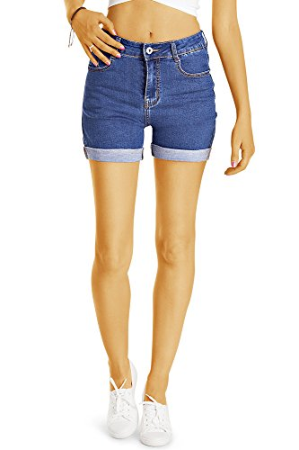 Bestyledberlin Damen High Waist Hot Pants, Denim Shorts, Sommer Jeansshorts j57i M (Denim-shorts Tights)