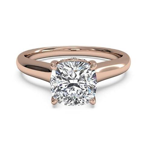 Forever Diamond - 14K Rose Gold 14 Karat Rotgold Halbmondschliff Hochfeines Weiß +/River (D) Diamant