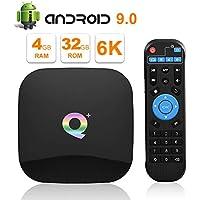 Sidiwen Android 9.0 TV BOX Q Plus 4 GB RAM 32 GB ROM H6 Quad Core 64 Bit CPU WIFI 2.4G Ethernet 100M USB 3.0 Smart Set Top Box Supporto 6K Ultra HD H.265 HDMI 2.0 Internet Media Player