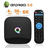 Android 9.0 TV Box, Q Plus Smart Box Allwinner H6 Processeur Arm Corter-A53 Quad-Core 64bits Mali T720 GPU 4GB RAM 32GB ROM Résolution 4K 6K Résolution 2.4GHz WiFi 100M LAN Enternet