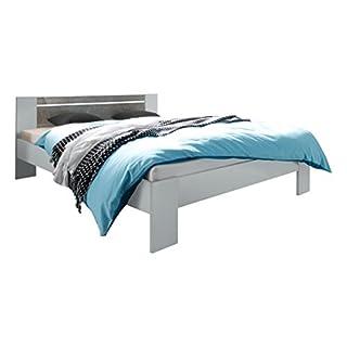 Avanti Trendstore - Bettgestell, ohne Lattenrost & Matratze, in verschiedenen Farben erhältlich, ca. 145x68x204 cm (Weiss/grau Beton-Dekor)