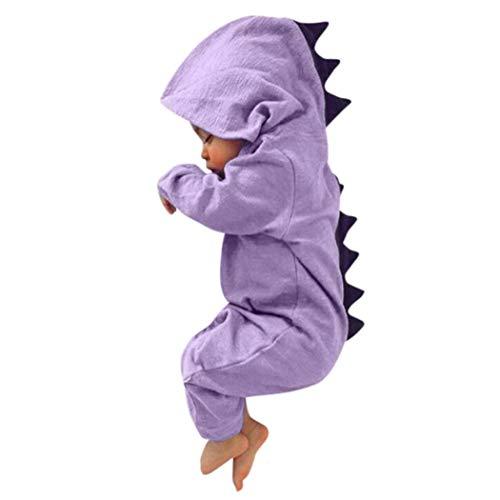 DAY8 Vêtement Bébé Garçon Naissance 0-18 Mois Pyjama Bébé Garçon Hiver 2018Combinaison Bébé Garçon Manche Longue Dinosaure Body Bébé Fille Capuche Grenouillères Barboteuses (90(12-18 Mois), Violet)