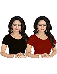 f47a0d80faa50 GOGURL Lycra Cotton Stretchable Free Size Readymade Blouse For Women Set Of  2