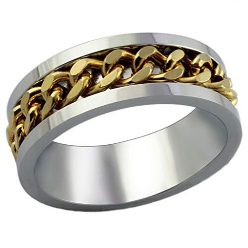 AnazoZ Edelstahl Ringe Für Herren Hochzeit Ringe Promise Gold Kette Size 60 (19.1)