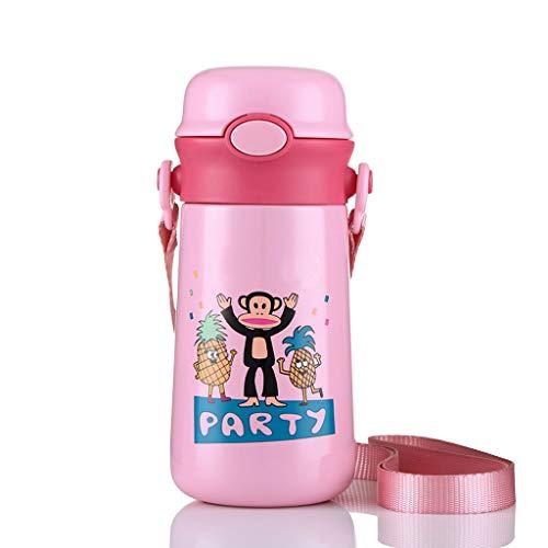 sche, Isolierungs-Schale der Kinder mit Stroh-tragbarer Wasser-Schalen-Edelstahl-Studenten-Kessel (Color : Pink) ()