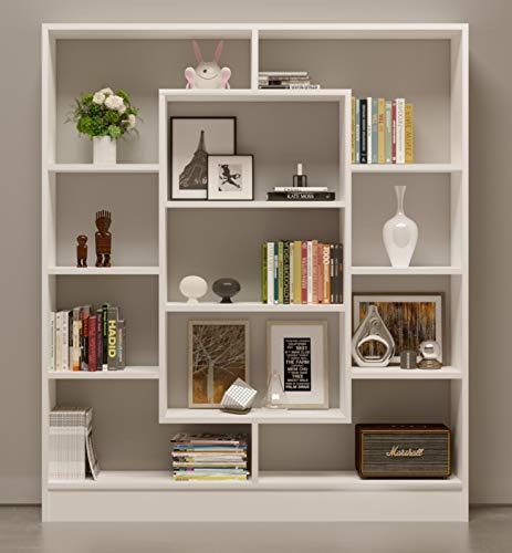 Bookcase Venus Room Divider Free Standing Shelving Unit For Living Room Or Office In A Modern Design White