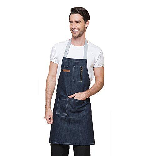 aspire Denim Bavoir Tablier avec Poches de Cuisine Couples Tablier pour Cuisiner Griller dans l'atelier, Bleu, Long