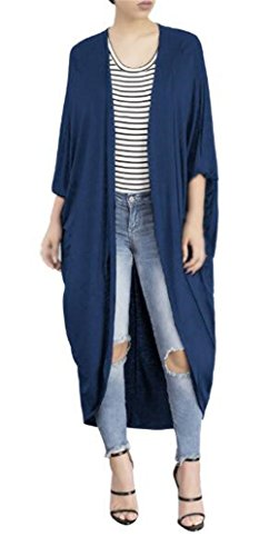 Gogofuture Simple Femme Cardigan Mode Longues Manches Couleur Unie Pull ElÉGant Manteau Trench Coat Long Casual blue