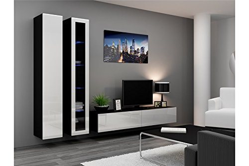 Ensemble Meuble TV Design VIKO - Blanc et Gris
