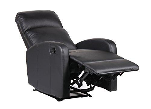 Astan hogar confort poltrona relax meccanismo con inclinazione manuale. sistema parete zero, in pelle sintetica di alta densità (full pu), nero, compatto