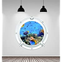 Red Parrot Graphics Sea1 Aquarium Fish Porthole Underwater Wall Art Sticker Decal Full Colour Print (Large 59cm x 59cm £11.99)
