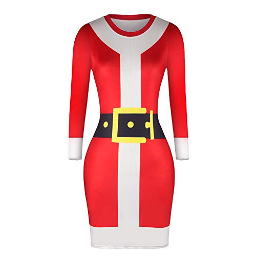 (MRULIC Weihnachten Frauen Langarm Kleid LäSsige Stretchy Skinny Bodycon Dress Pulloverkleid Abiballkleider Festkleider TüRkises Cocktailkleid(Rot,EU-34/CN-S))