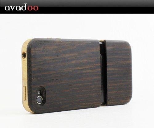 avadoo® iPhone 4/4S Bambus-/Ahornholz (dunkel) Case - Holz bumper Taschen Case Luxus Hülle Series von avadoo® für das iPhone 4/4S Bambus-/Ahornholz Bahia-Rosenholz mit Rahmen *Luxus Version
