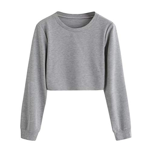 (Geili Sweatshirt Damen,Frauen Langarm Sweatshirt Damen Mädchen O-Ausschnitt Solid Color Pullover Crop Tops Bluse T-Shirt Herbst Kurze Sportoberteile)