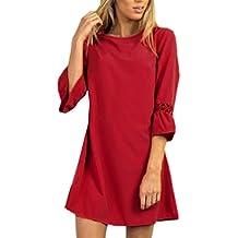Mujer Faldas, Honestyi,Vestido hueco para mujer del partido de noche de las señoras del vestido de la manera ahueca hacia fuera (S, rojo)