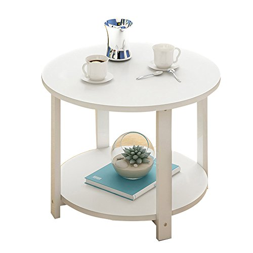 AJZGF Europäische hölzerne runde Tabelle Wohnzimmer Couchtisch Sofa Beistelltisch Telefon Tabelle 2 Schichten Regal (Farbe : 3#, größe : 50 * 50 * 43cm) - 3 Regal-große Tabelle