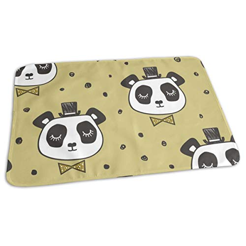 Gold Stripe Bow Tie (Panda Head With Bow Tie And Hat Dots On Gold Baby Portable Reusable Changing Pad Mat 19.7x 27.5 inch)