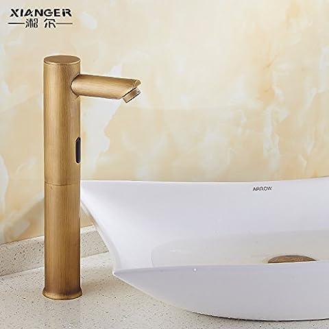 Qwer Wasserhahn Continental antiken Full-Automatic Sensing alle Kupfer Retro Erkältung führenden Heiße und kalte Hände waschen Infrarotsensor auf Server für Badezimmer Tippen