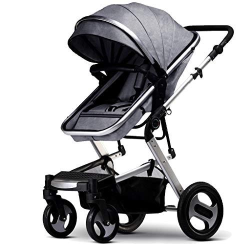 Kinderwagen 3 In 1 Faltbarer Regenschirm Babyschale Travel System Mit Baby Korb Anti-Shock Federn Neugeborenen Kinderwagen Einstellbare High View Baby Erstausstattung, Grau (System Travel Baby)