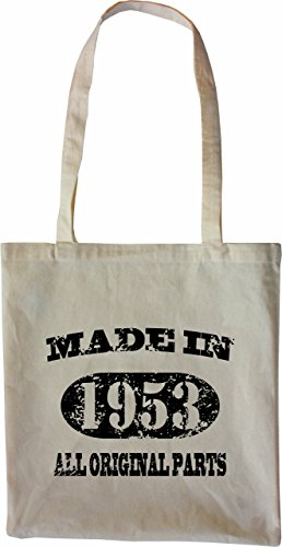 Mister Merchandise Tote Bag Made in 1953 All Original Parts 62 63 Borsa Bagaglio , Colore: Nero Naturale