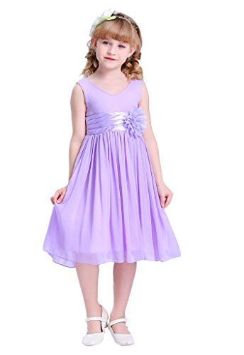 HAPPY ROSE Junior Bridesmaids V-Neckline Chiffon Flower Girl Dress