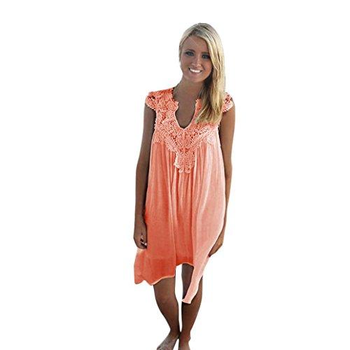 Damen Sommerkleider Frauen Sommer T-Shirt Kleid Weiß Casual Lange Ärmel Minikleid Großen Größen Abendkleid Partykleid Cocktailkleid Kurzes Strandkleid Beach Valentinstag Dress (3XL, Sexy orange)