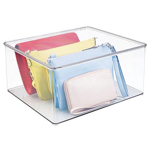 mDesign stapelbarer Kleiderbox – die praktische Klamottenkiste, Schrank-Aufbewahrungsbox mit Deckel (Schrank Schuh-boxen)