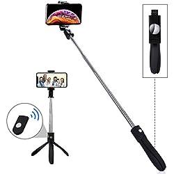 LATEC Perche Selfie Bluetooth Selfie Stick Trépied Monopode avec Télécommande sans Fil Bâton Réglable Télescopique Support Téléphone pour iPhone Samsung Huawei