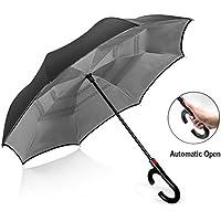 Paraguas reversible resistente al viento para hombre y mujer, paraguas con mango en forma de C para coche, paraguas compacto de doble capa, gris