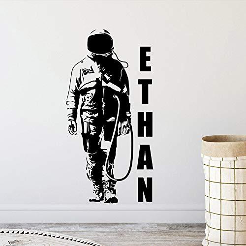 Ajcwhml Personalisierte Astronauten Wand Aufkleber Spaceman Benutzerdefinierten Namen Logo Raum dekorative Vinyl Aufkleber Boy Room Print Zimmer Kindergarten -