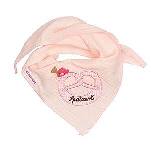 Eisenherz Pañuelo de Muselina Triangular con Pretzel Bordado Para las más peques y Sombrero Tirolés Rosa, para Niñas de 1 a 4 años. 1
