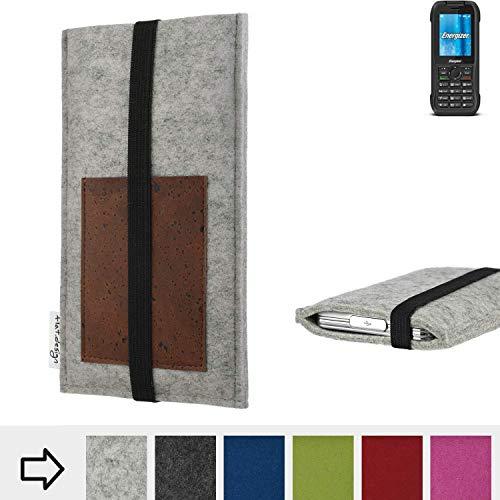 flat.design Handy Hülle Sintra für Energizer H240S handgefertigte Handytasche Filz Tasche Schutz Case Kartenfach Kork