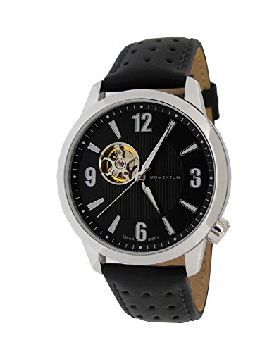 Momentum Men's ' Automatic Stainless Steel and Leather Casual Watch, Color:Black (Model: 1M-SN90BS2B)