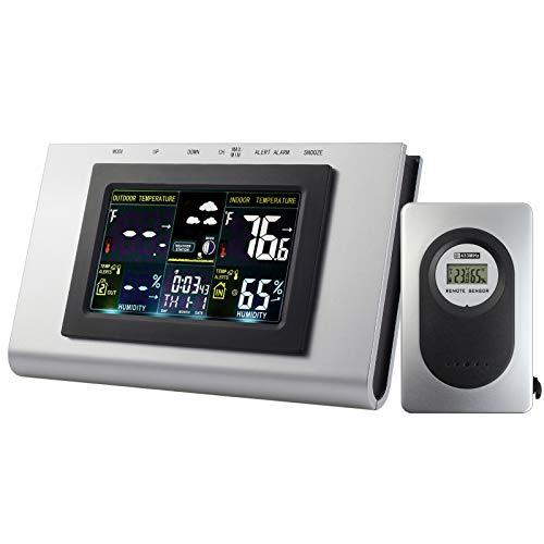 ESynic Estación Meteorológica Inalámbric Digital para Temperatura Interior/Exterior Reloj de Alarma...