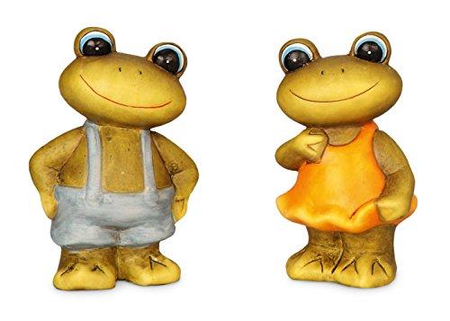 2x lustige Deko Frösche im Set aus Polystein grün blau orange bemalt ca. 11 cm hoch, Dekofigur Frosch witzige Figur als Deko