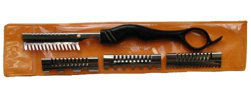 Effiliermesser mit 4 verschiedenen Aufsaetzen für Wechselklingen