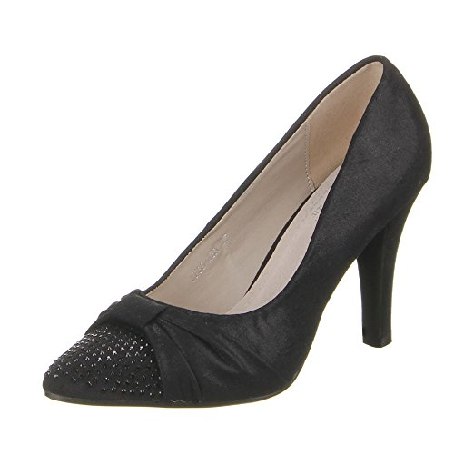 Damen Schuhe Pumps Strass Design High Heels Schwarz Gold Silber 36 37 38 39 40 Schwarz