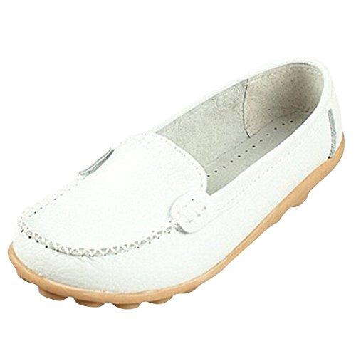 Minetom Donne Scarpe Basse Piatte di Ecopelle Pantofole Semplici Comode scarpe casual scarpe da guida Bianco