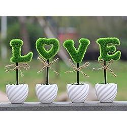 Shopmeeko Decoraciã³n del hogar Jarrón de Cerã¡Mica Plantas Artificiales con Amor Flores de Simulaciã³n en Maceta Decoradas Flocado Flor Envão Gratis: Forma