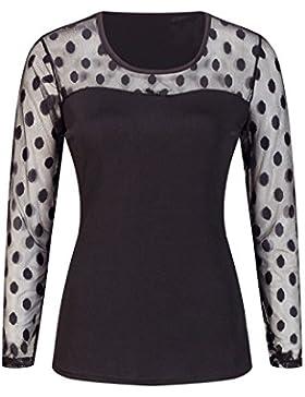 Beauty7 Encaje Floral Camisetas Mujer Verano Mangas Larga Cuello Redondo Tops T Shirt Parte Superior Blusa Elegante...