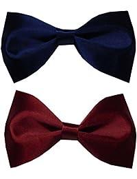 Navy Blue & Maroon Solid Bowtie For Men