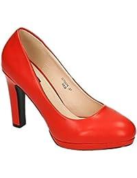 Klassische Damen Pumps Stilettos High Heels Plateau Abend Party Schuhe Bequem 074 (36, Beige) King Of Shoes