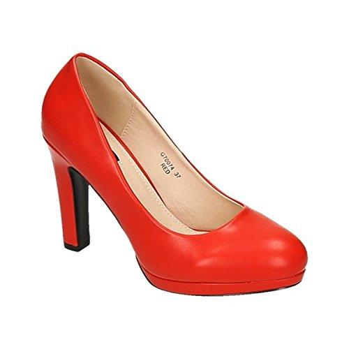 Klassische Damen Pumps Stilettos High Heels Plateau Abend Party Schuhe Bequem 074 Rot