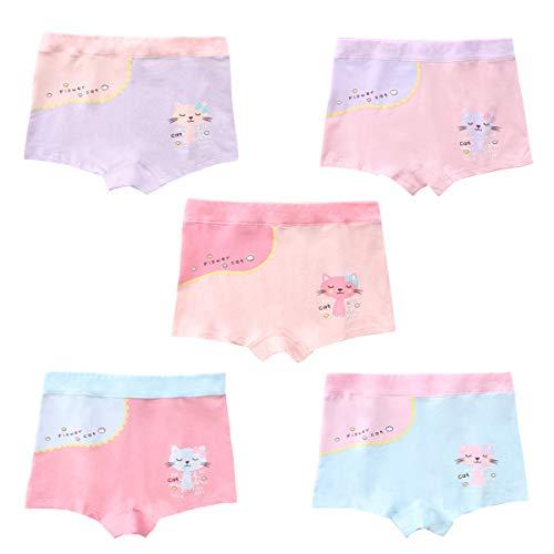 Cotton Coming Unterhosen für Mädchen,5er Pack Bequeme Mädchen Unterhosen Baumwolle Gemischte Kinder Unterwäsche Boxershorts 2-12 Jahre(XL,6-8 Jahre)