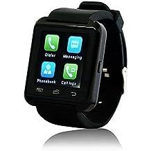 WAVEFULL móvil U8 Reloje SmartWatch Bluetooth 3.0 Muñequera de silicona para Apple iOS iphone teléfono inteligente 4 / 4S / 5 / 5C / 5S / 6 Android Samsung S2 / S3 / S4 / Nota 3.2 Nota HTC Nokia NEGRO