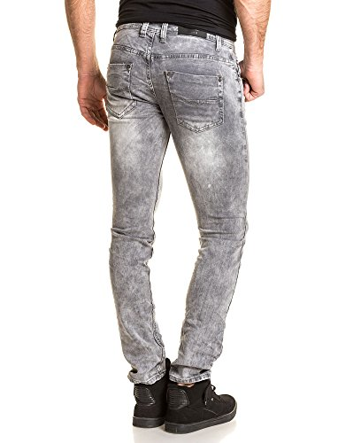 Gov Denim - Jean slim gris délavé fashion Gris