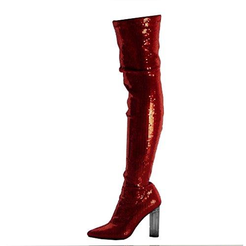 Angkorly Scarpe Moda Stivali Alti Ginocchio Stivali - Scarponi Flessibile Cavalier Disco Donna Paillettes Lucide Tacco a Blocco Alto 10 cm Rosso