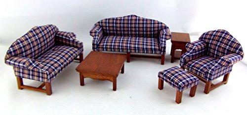 Casa Di Bambole Noce In Miniatura Plaid Famiglia Vivente Arredo Camera Lounge Suite