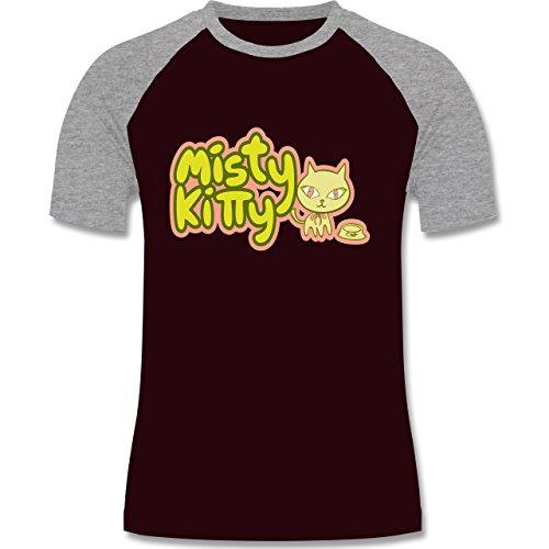 Katzen - Misty Kitty - zweifarbiges Baseballshirt für Männer Burgundrot/Grau meliert
